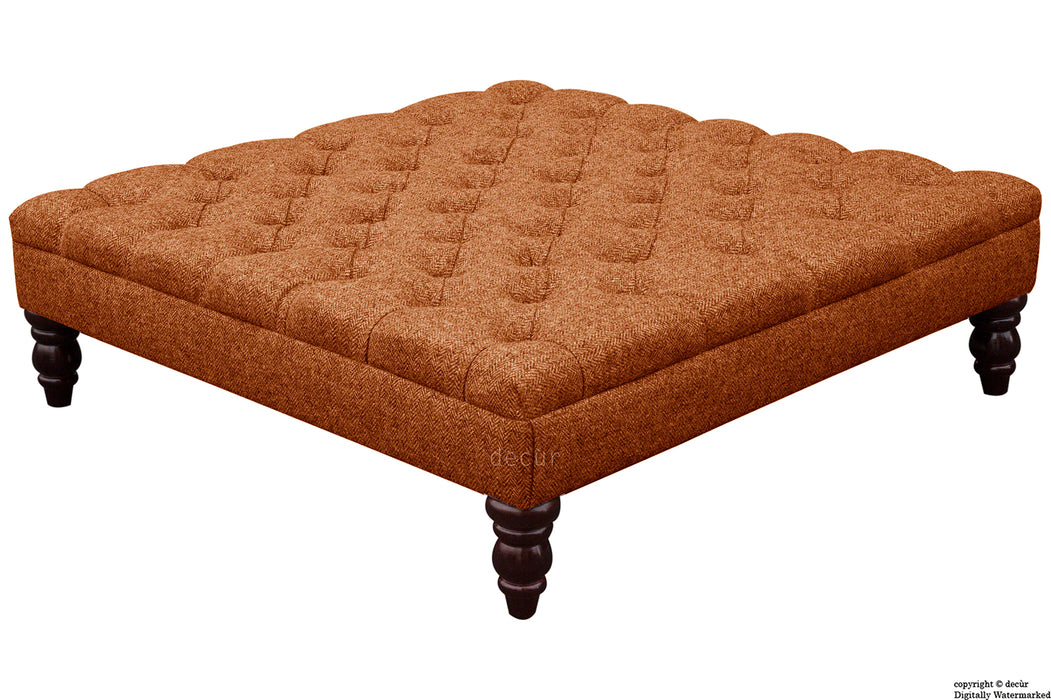 Harris Tweed Buttoned Herringbone Footstool - Burnt Umber