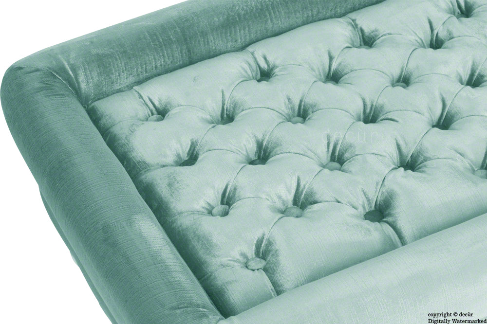 Cavendish Buttoned Velvet Footstool - Seaspray