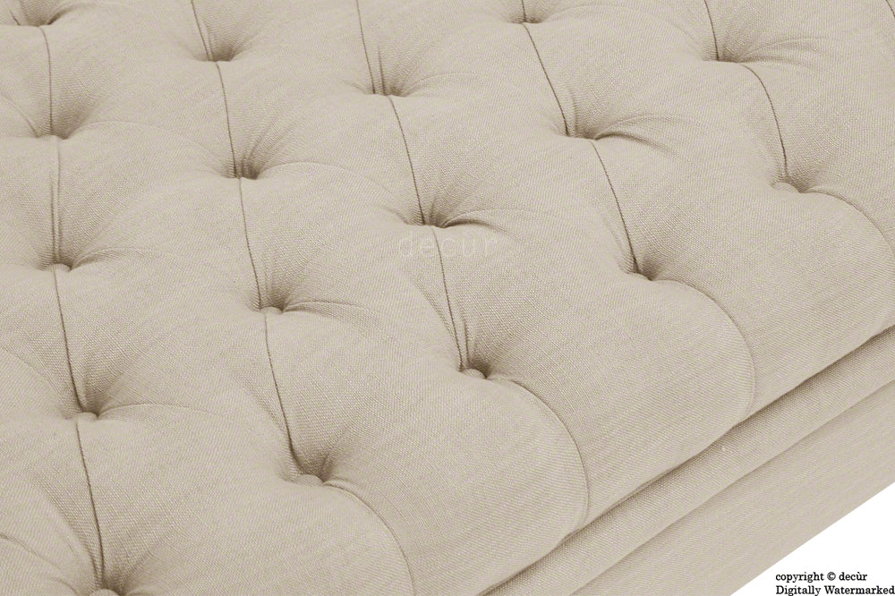 Amy Buttoned Linen Modern Tufted Footstool - Beige