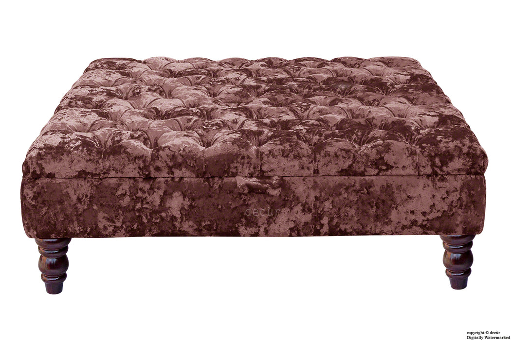 Tiffany Buttoned Crushed Velvet Footstool Large - Magenta with Optional Storage