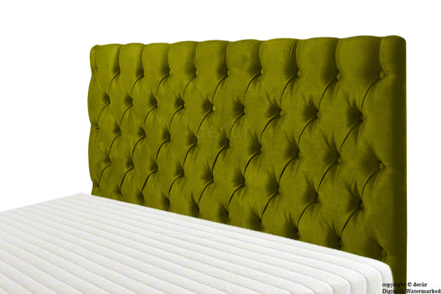 Tiffany Harrogate Buttoned Velvet Headboard - Grass