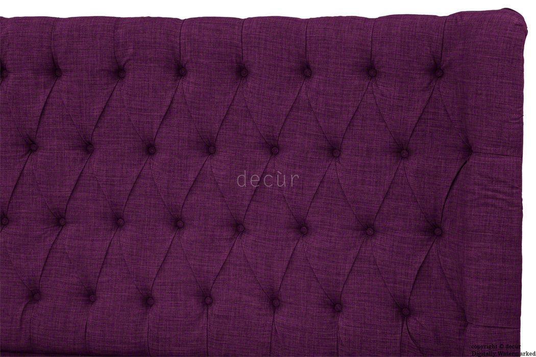 Hollyrood Linen Upholstered Winged Ottoman Bed - Plum