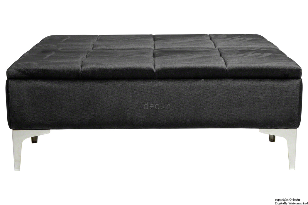 Mila Modern Buttoned Velvet Footstool Large - Cosmic Black with Optional Storage