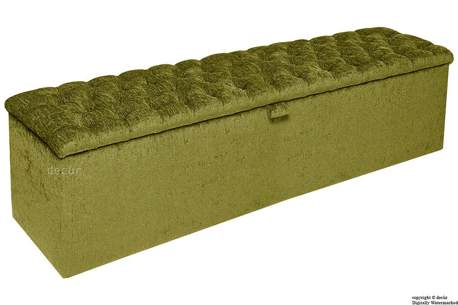 Viscount Chesterfield Chenille Ottoman - Olive Green