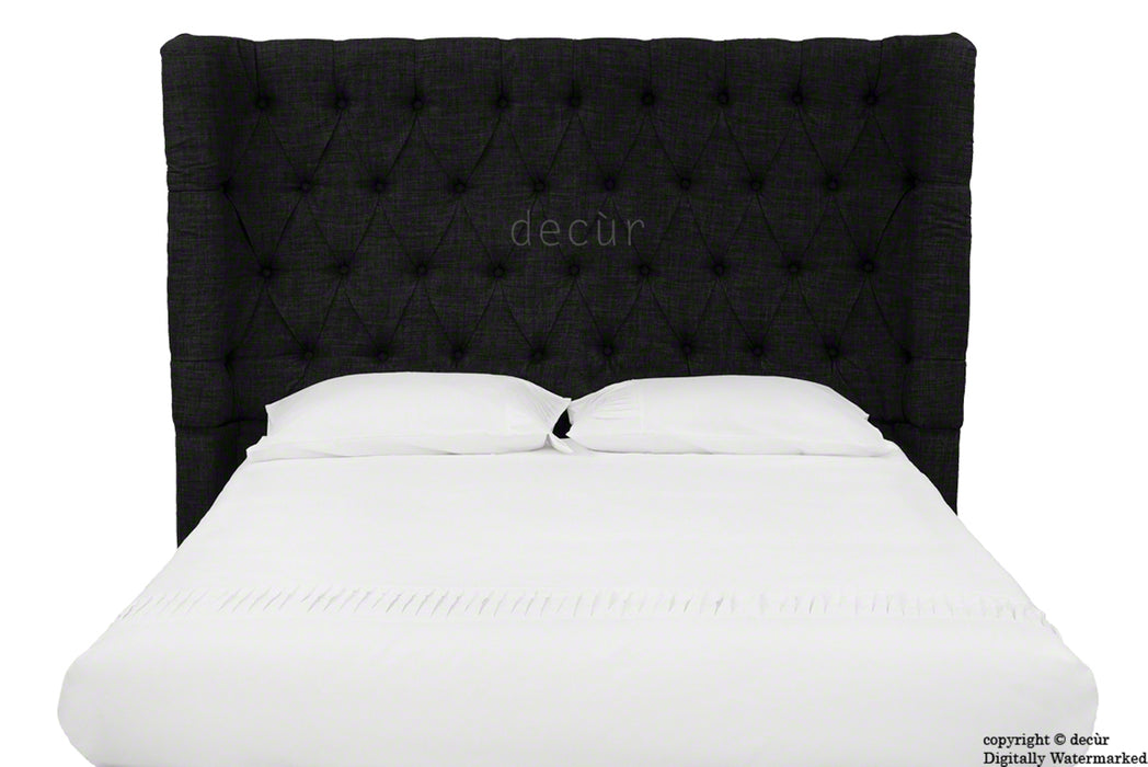Hollyrood Buttoned Linen Winged Headboard - Black