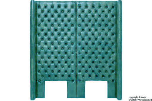 Beauchamp Buttoned Courtyard Leather Headboard Teal