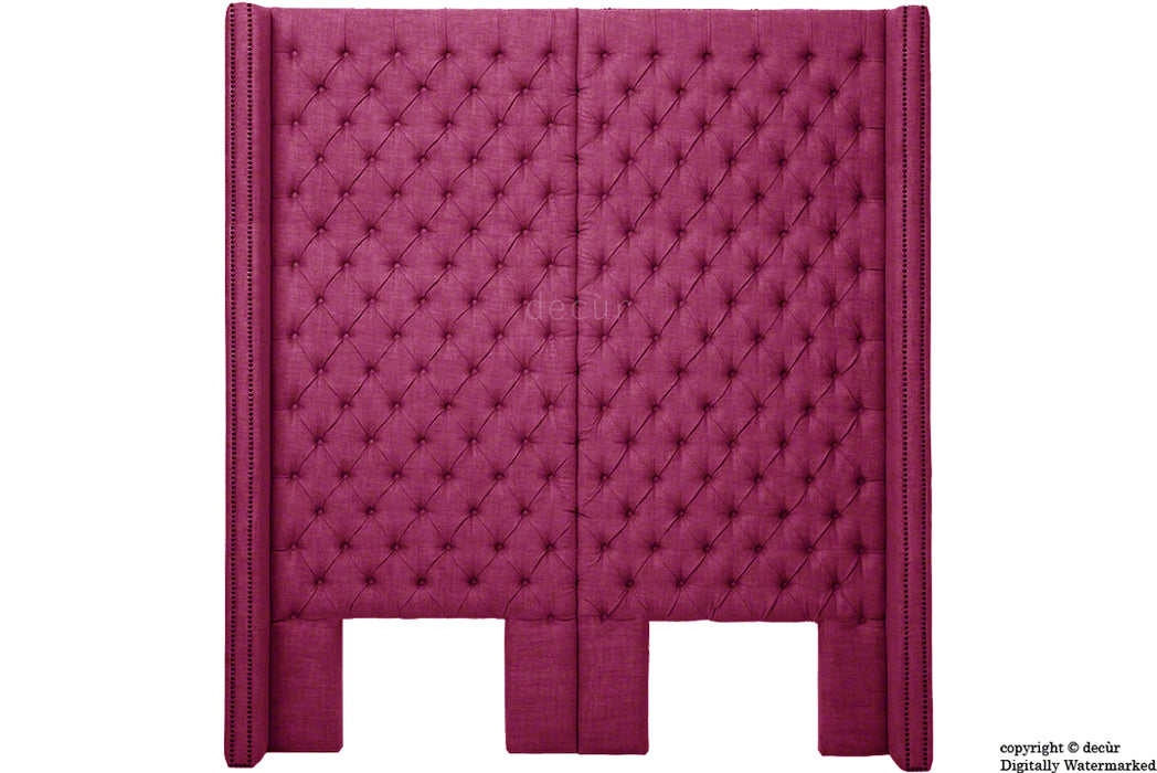 Beauchamp Buttoned Courtyard Linen Headboard Fuchsia
