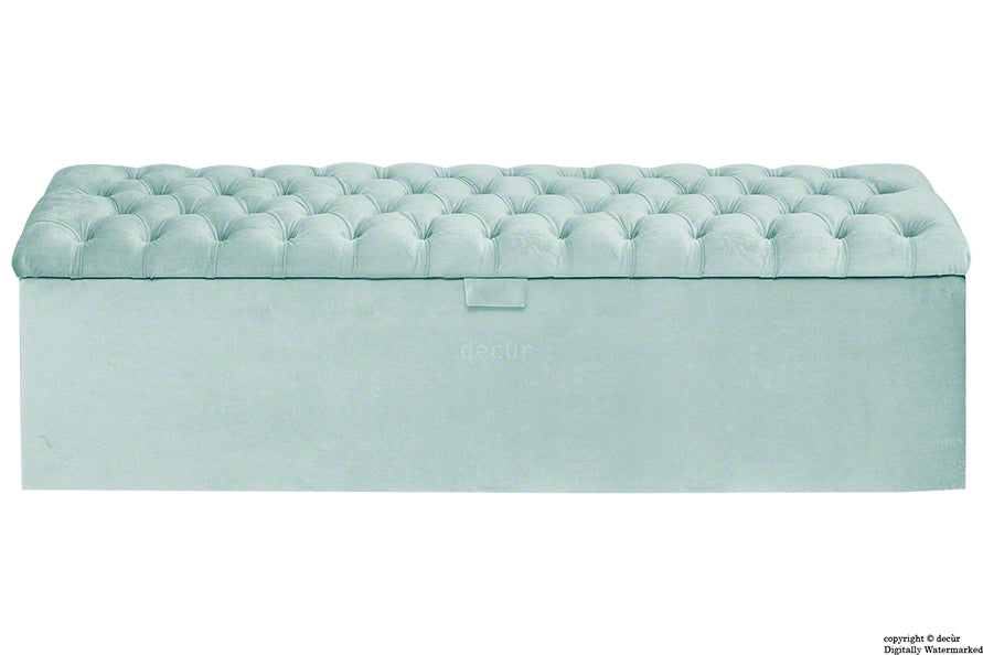 Viscount Chesterfield Velvet Ottoman - Seaspray