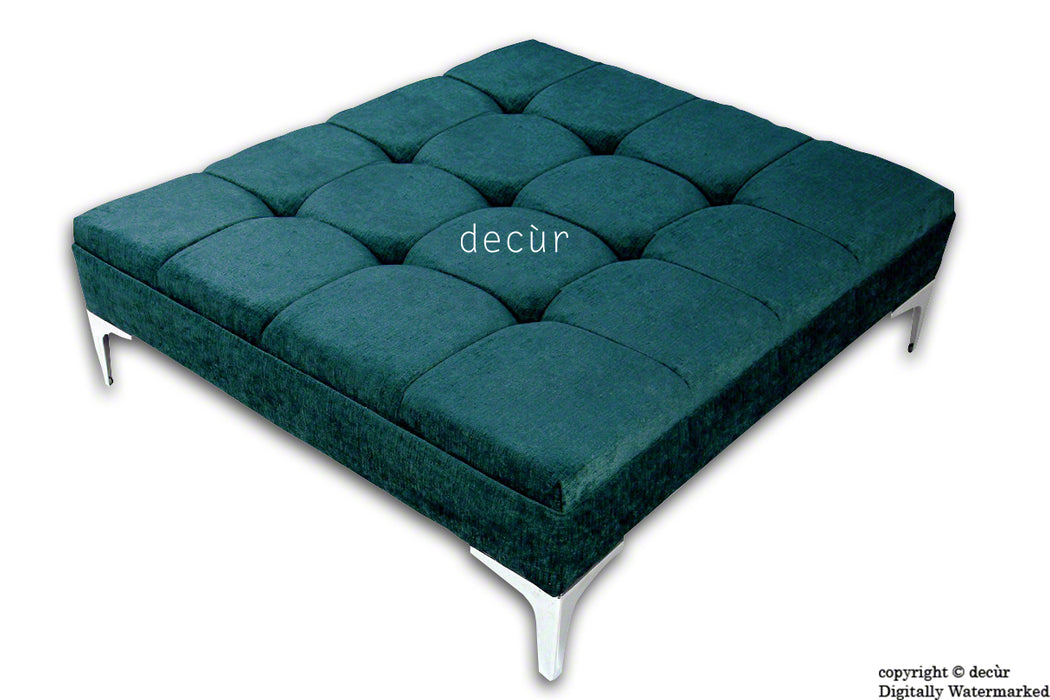 Mila Large Buttoned Footstool - Teal with Optional Storage