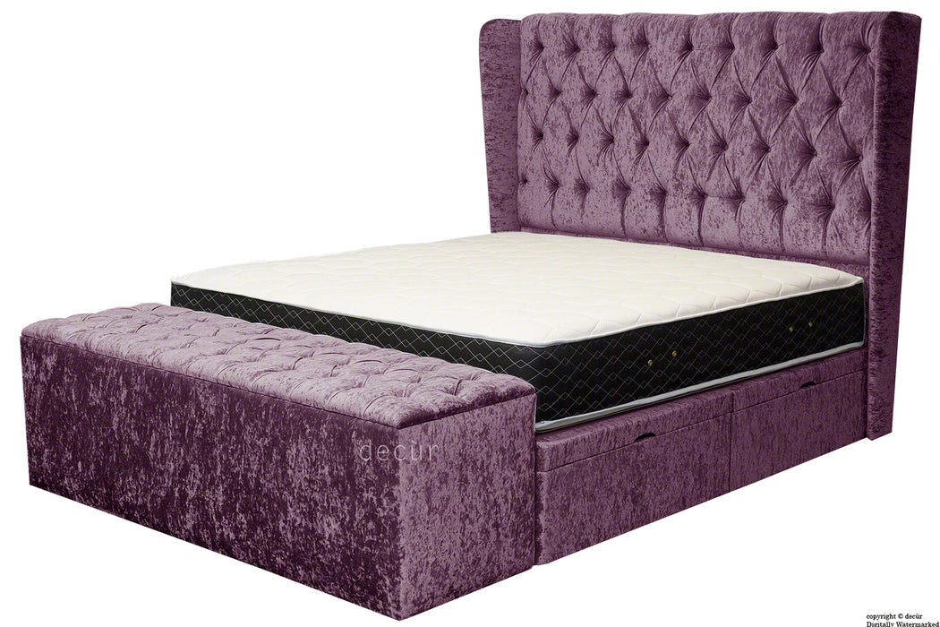 Elizabeth Winged Buttoned Crushed Velvet Bed - Grape