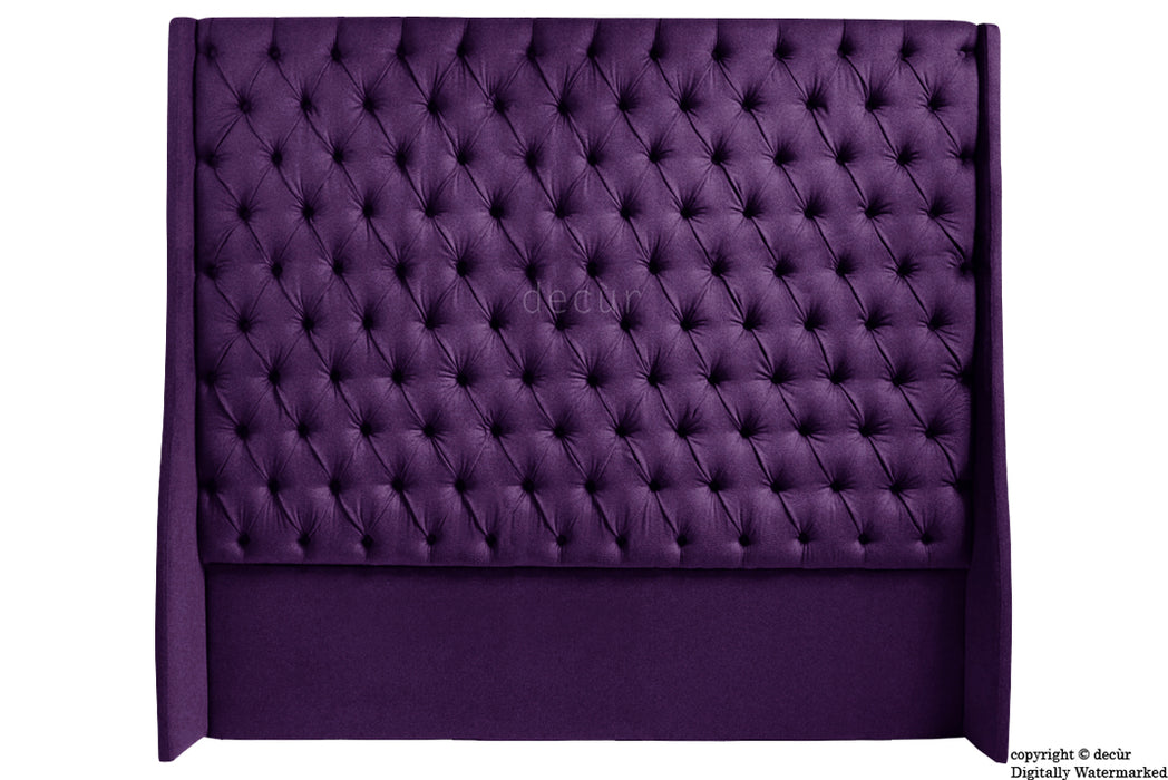 Abbingdon Buttoned Winged Velvet Headboard - Amethyst
