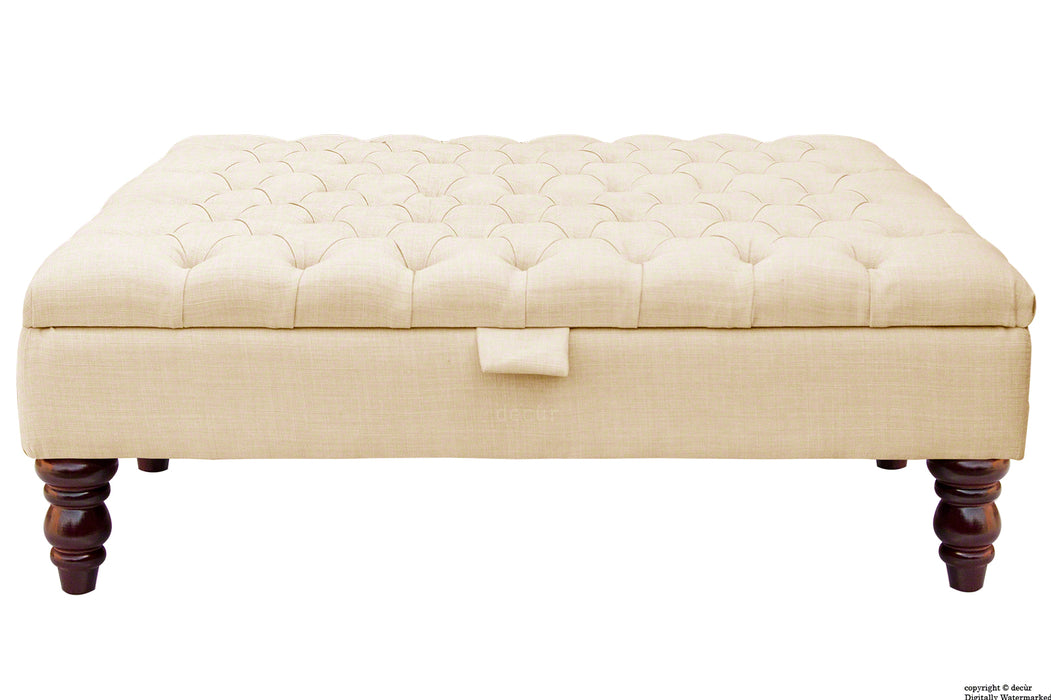 Tiffany Buttoned Linen Footstool Large - Pearl with Optional Storage