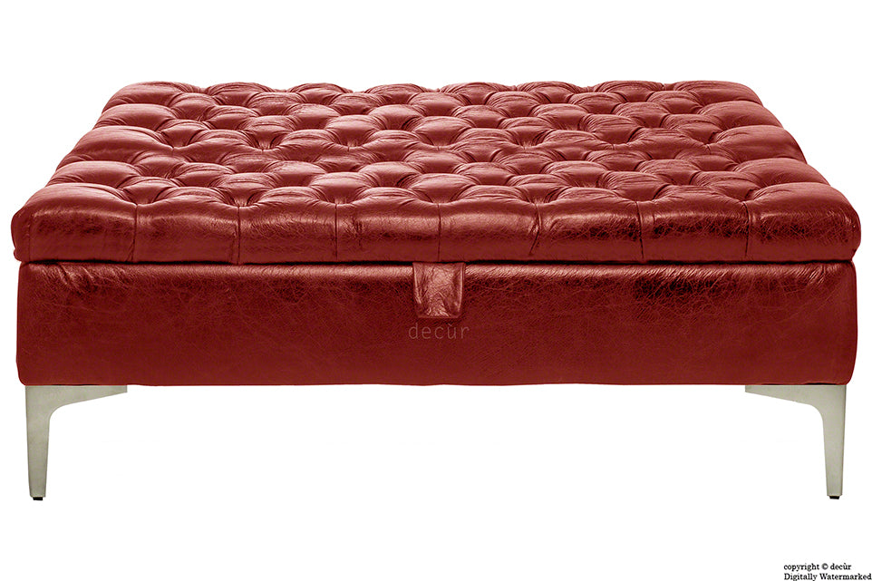 Wraith Leather Vintage Footstool Large - Rioja