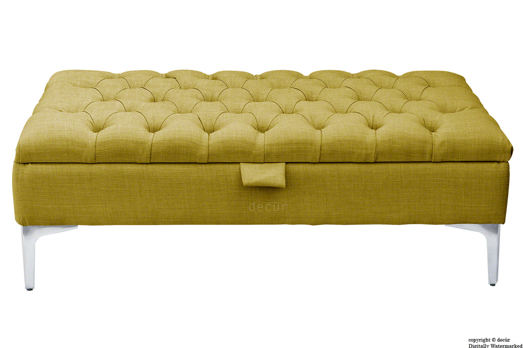 Tiffany Modern Buttoned Linen Footstool - Olive with Optional Storage