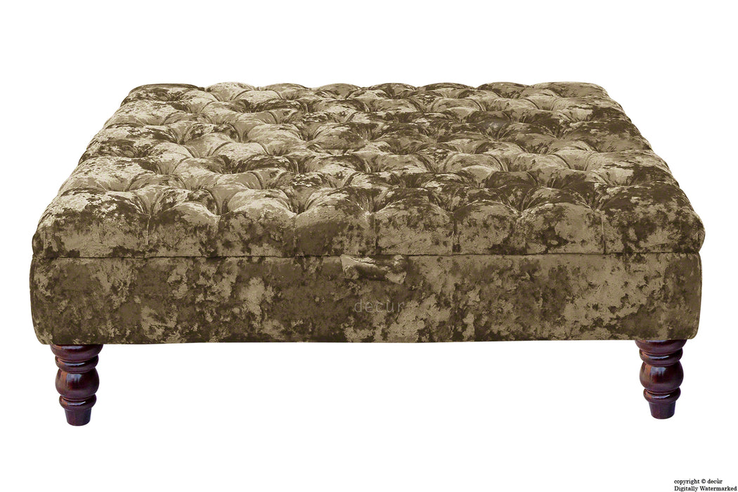 Tiffany Buttoned Crushed Velvet Footstool Large - Bronze with Optional Storage