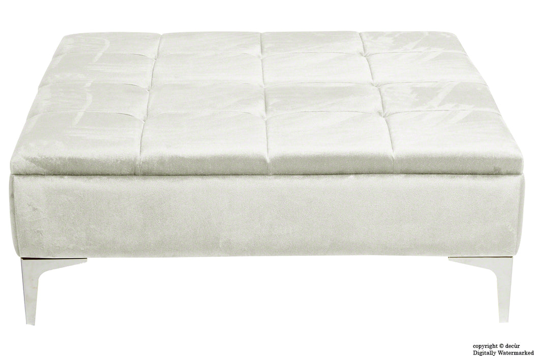 Mila Modern Buttoned Velvet Footstool Large - Cream with Optional Storage