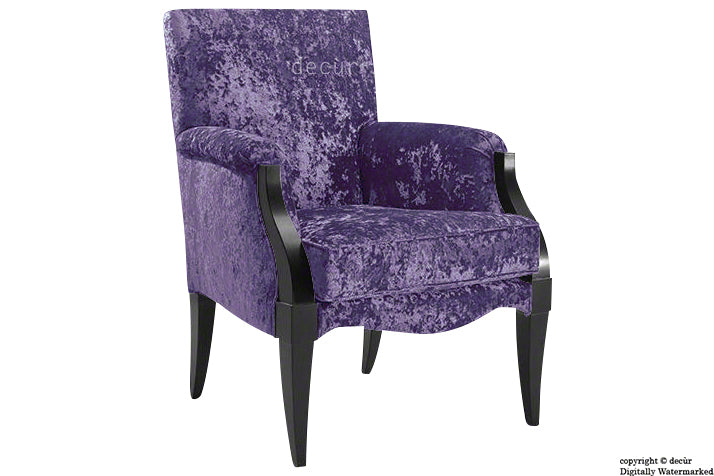Art Deco Crushed Velvet Arm Chair - Grape