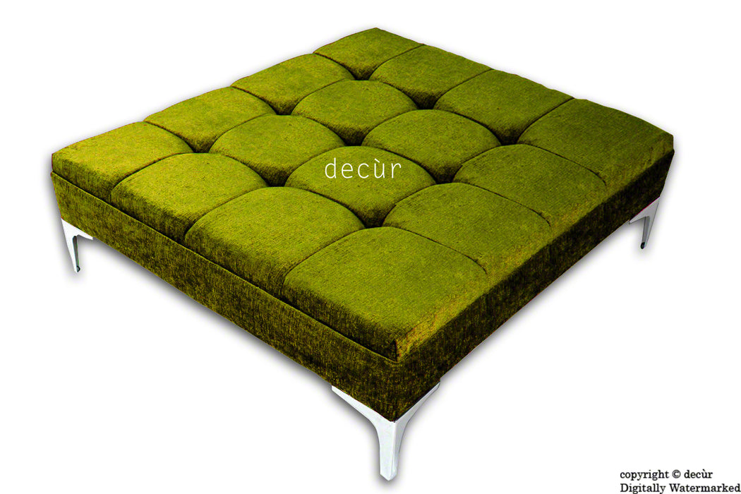 Mila Large Buttoned Footstool - Lime with Optional Storage