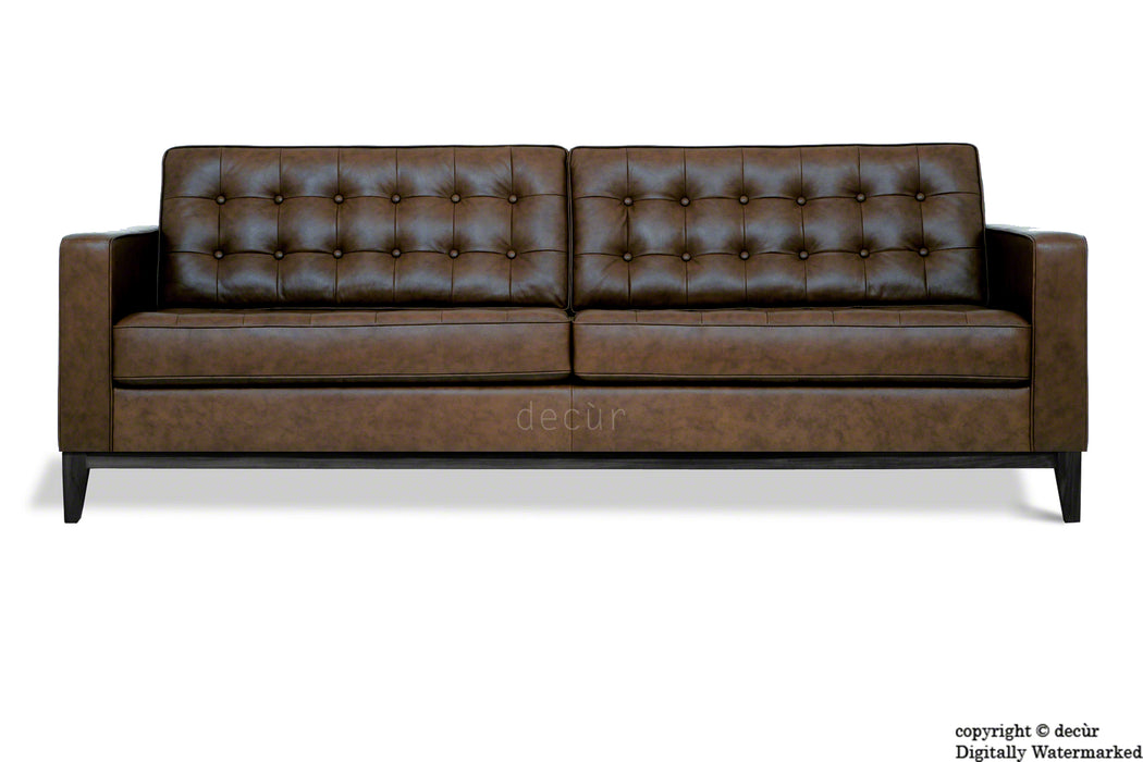 Jasper Leather Sofa - Chocolate