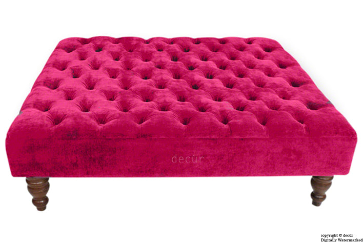 Tiffany Buttoned Chenille Footstool Large - Pink with Optional Storage
