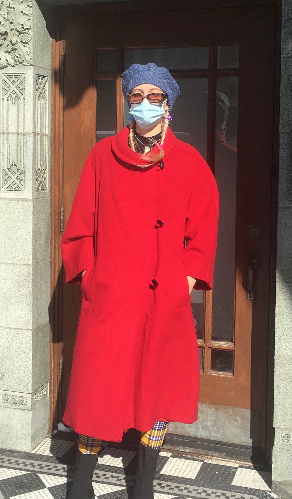 Vintage Red Wool Coat w/ Belt