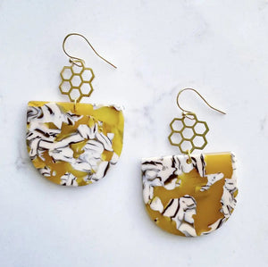 Honey Comb Acetate Dome Earrings