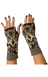 Womens Recycled Hand Warmer Fingerless Glove - Real Owl
