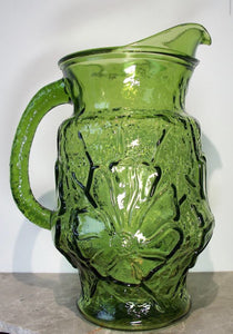 Green glass pitcher