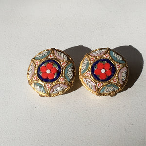 Vintage Micro Mosaic Earrings Clip-on
