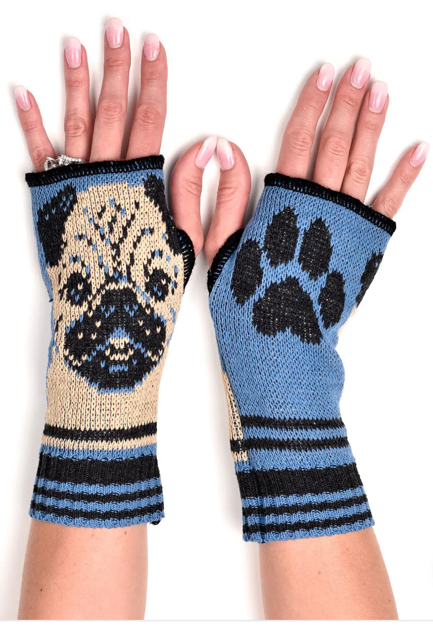 Women's Recycled Cotton Hand Warmer Fingerless Gloves - Pug