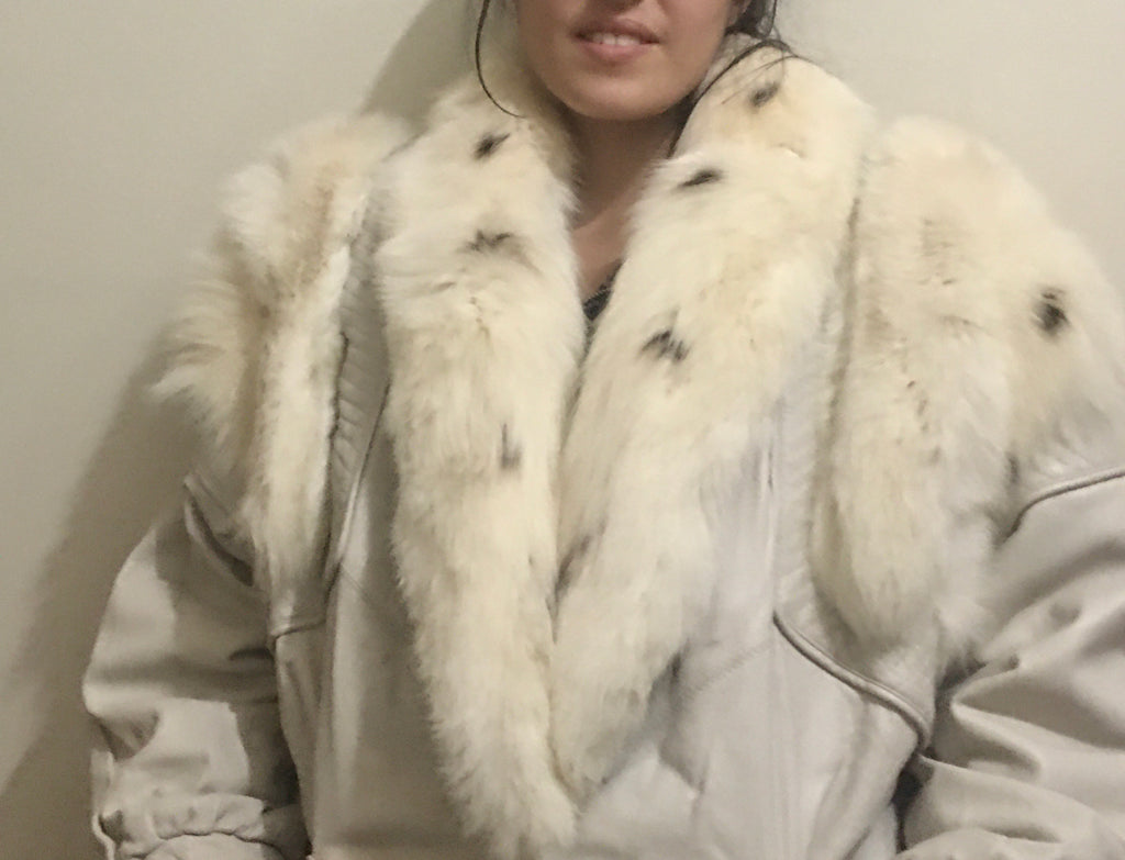Vintage White Leather/Fur Jacket