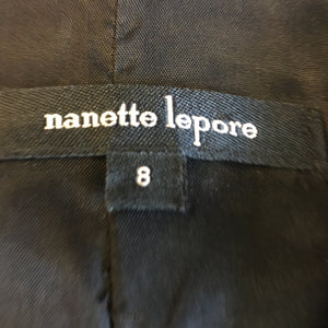 Nanette Lepore black leather/ purple suede skirt