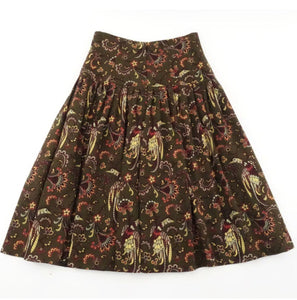 80s MONDI Wool Skirt Bird Floral Paisley Print Skirt Pleated A-line Midi