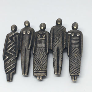 Laurel Burch family or tribal silver vintage pin