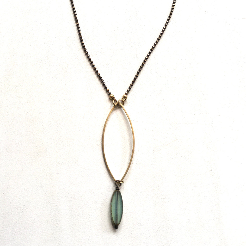 Turquoise Glass Marquise Bronze Necklace