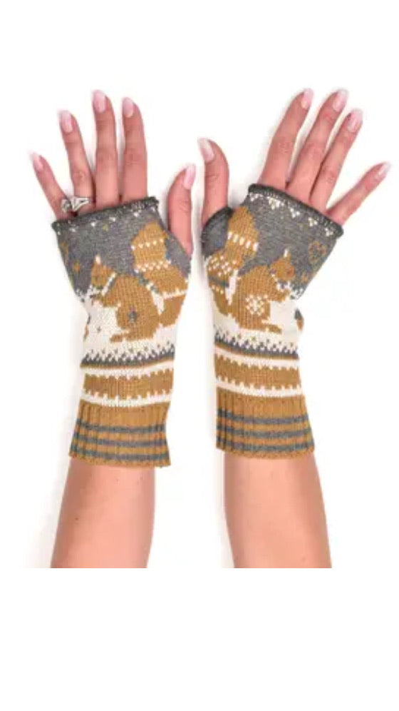 Womens Recycled Cotton Hand Warmer Fingerless Glove-Squirrel
