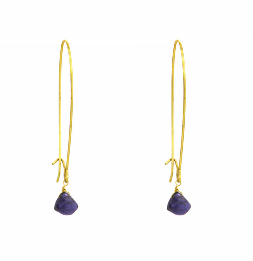 Long Simple Iolite Earrings