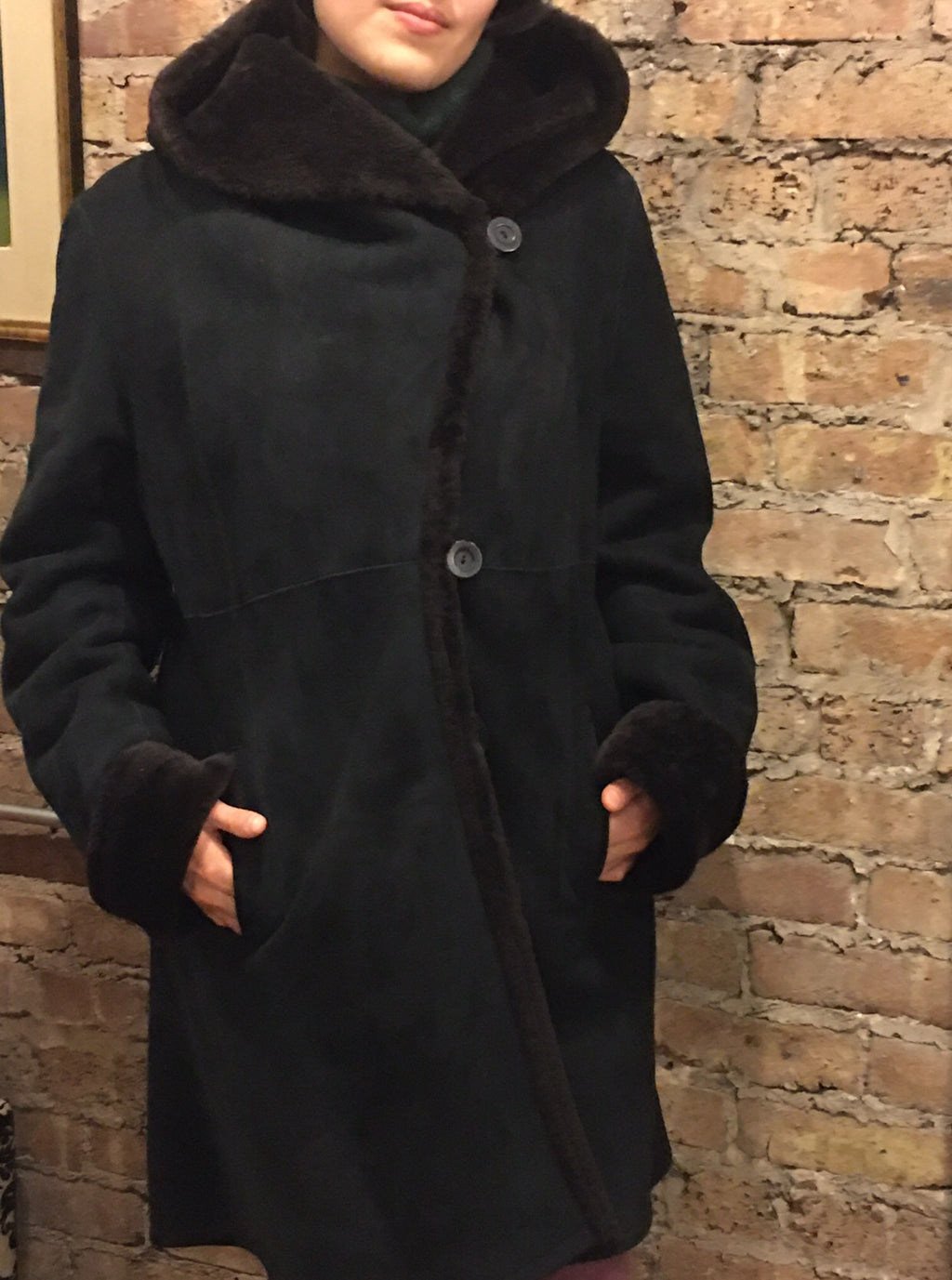 Blue Duck Black and Brown Slim Fitted Hooded Shearling Coat