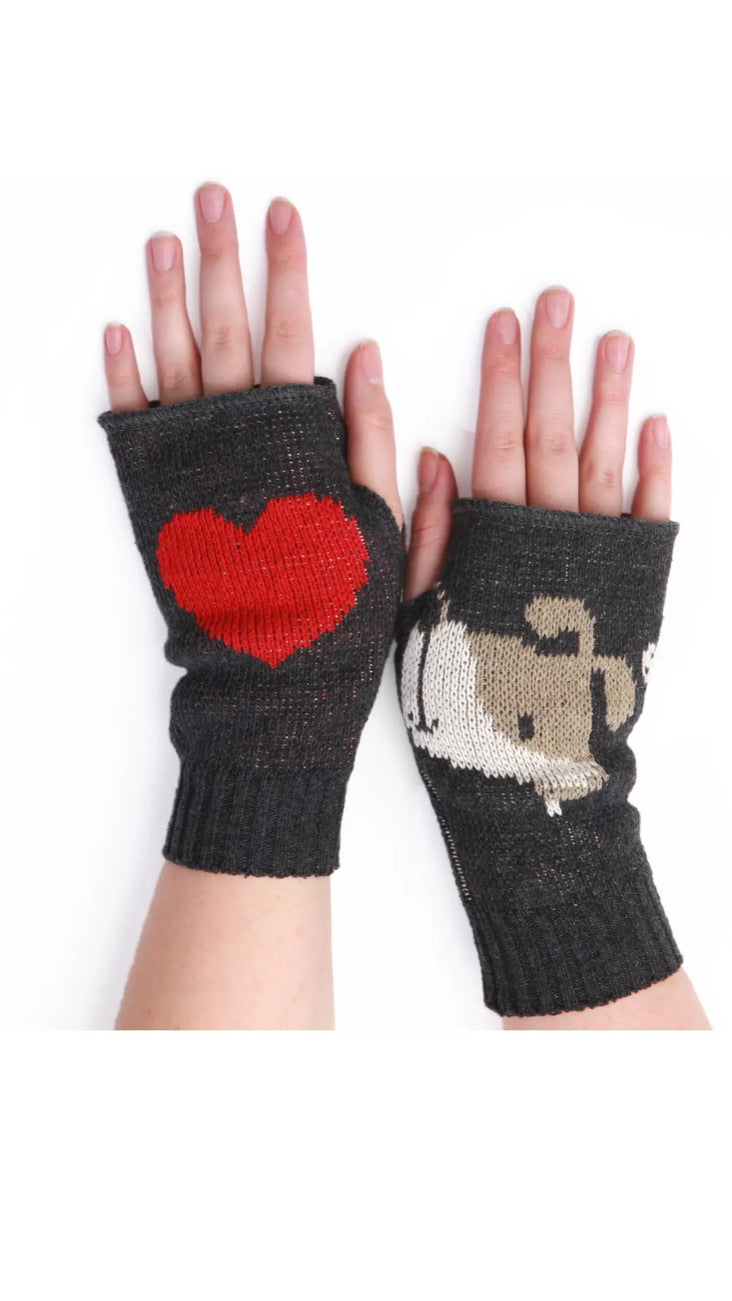 Women's Recycled Hand Warmer Fingerless Gloves - Bean Doggie