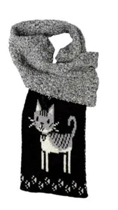 Womens Recycled Cotton Sweater Knit Pull Through Scarf-Kitty