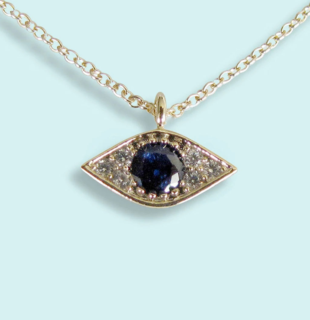 BLUE CRYSTAL EVIL EYE NECKLACE