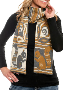 Women's Recycled Cotton Sweater Knit Fashion Scarf -Squirrel