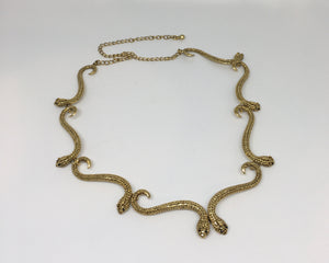 Necklace, S Snake collar, ant gold jet eyes
