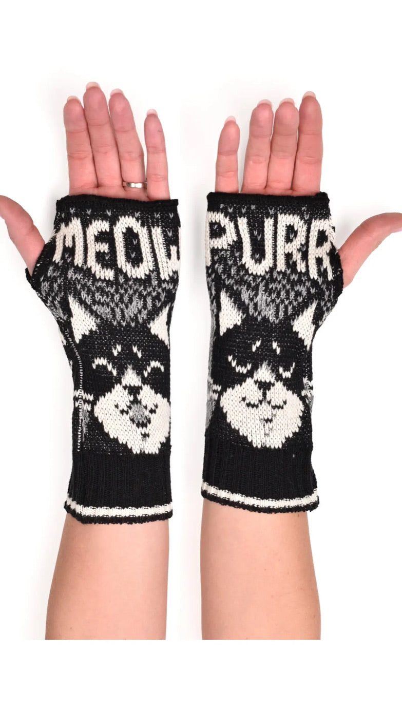 Women's Recycled Hand Warmer Fingerless Gloves - Tuxedo Cat