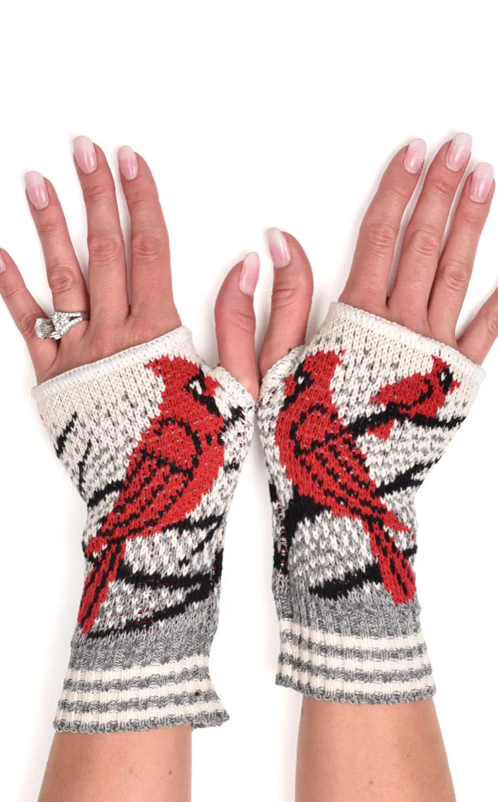 Women's Recycled Hand Warmer Fingerless Gloves - Cardinal