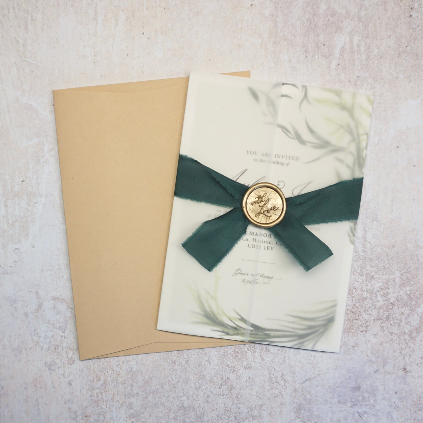Luxury vellum wedding stationery wrap