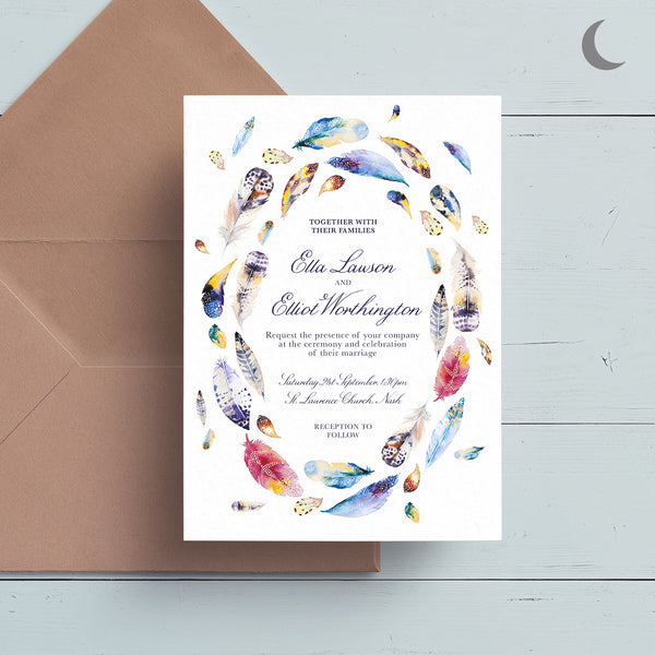Boho Feathers Reception Invite