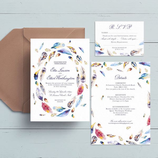 Boho Feathers Wedding Invite