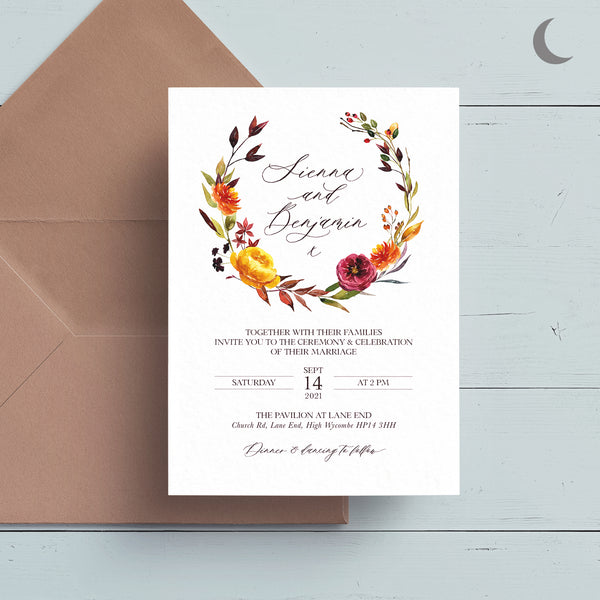 Bronzed Garland Reception Invite