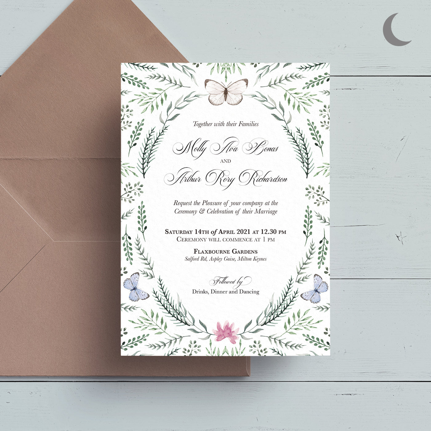 Butterfly Bliss Reception Invite